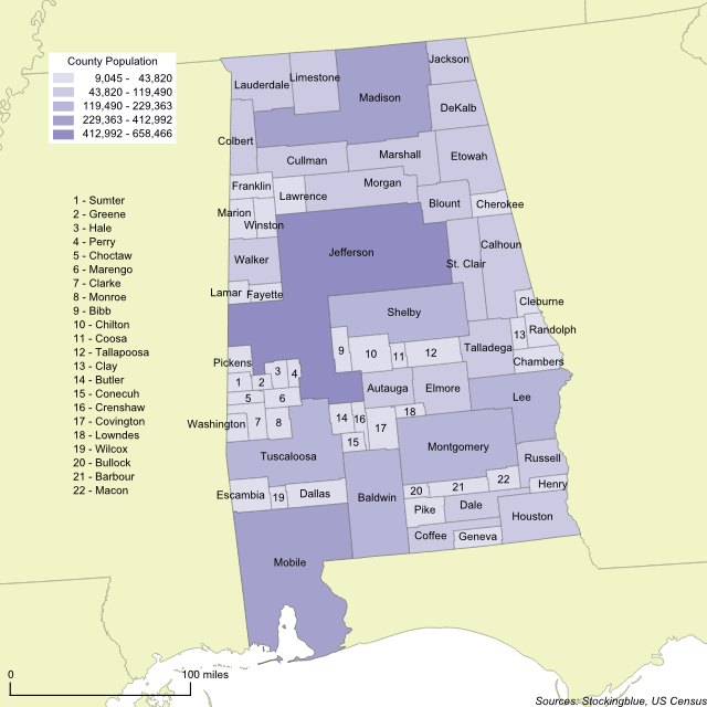 Cartogram map of 2010 Alabama county population