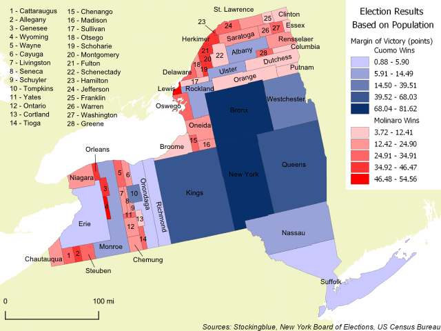 New York Gubernatorial Results by County