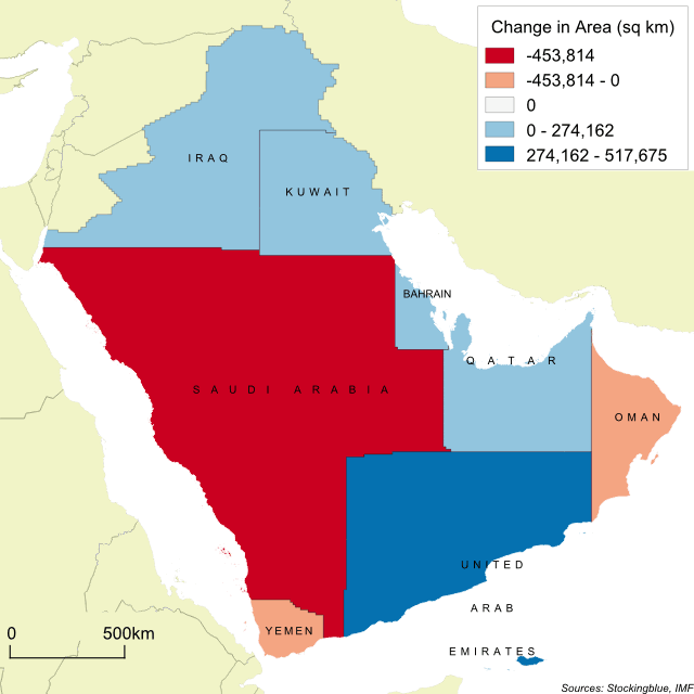 Cartogram map of GDP in the Arabian Peninsula