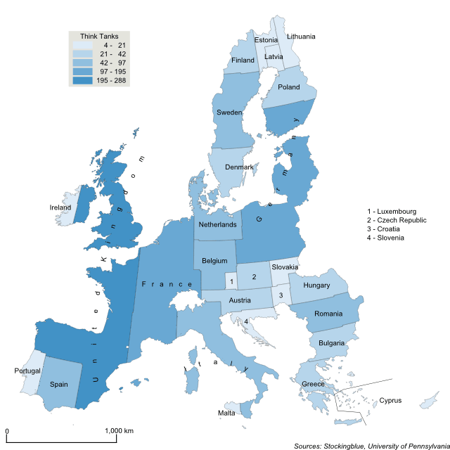 Cartogram map of think tanks in the European Union