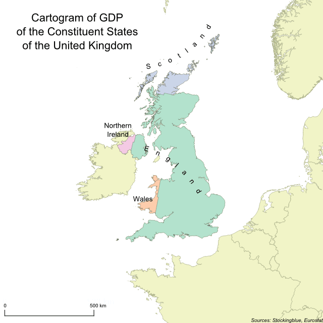 Cartogram of GDP of the United Kingdom