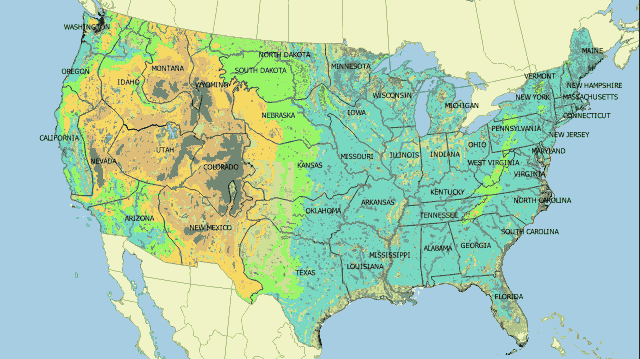 Map of United States with metes and bounds borders